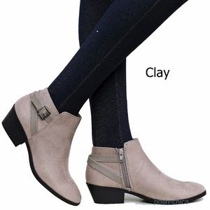 New Clay Western Low Heel Ankle Boots Booties